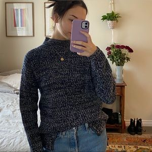 Blue and white heat here's mock neck sweater Gap